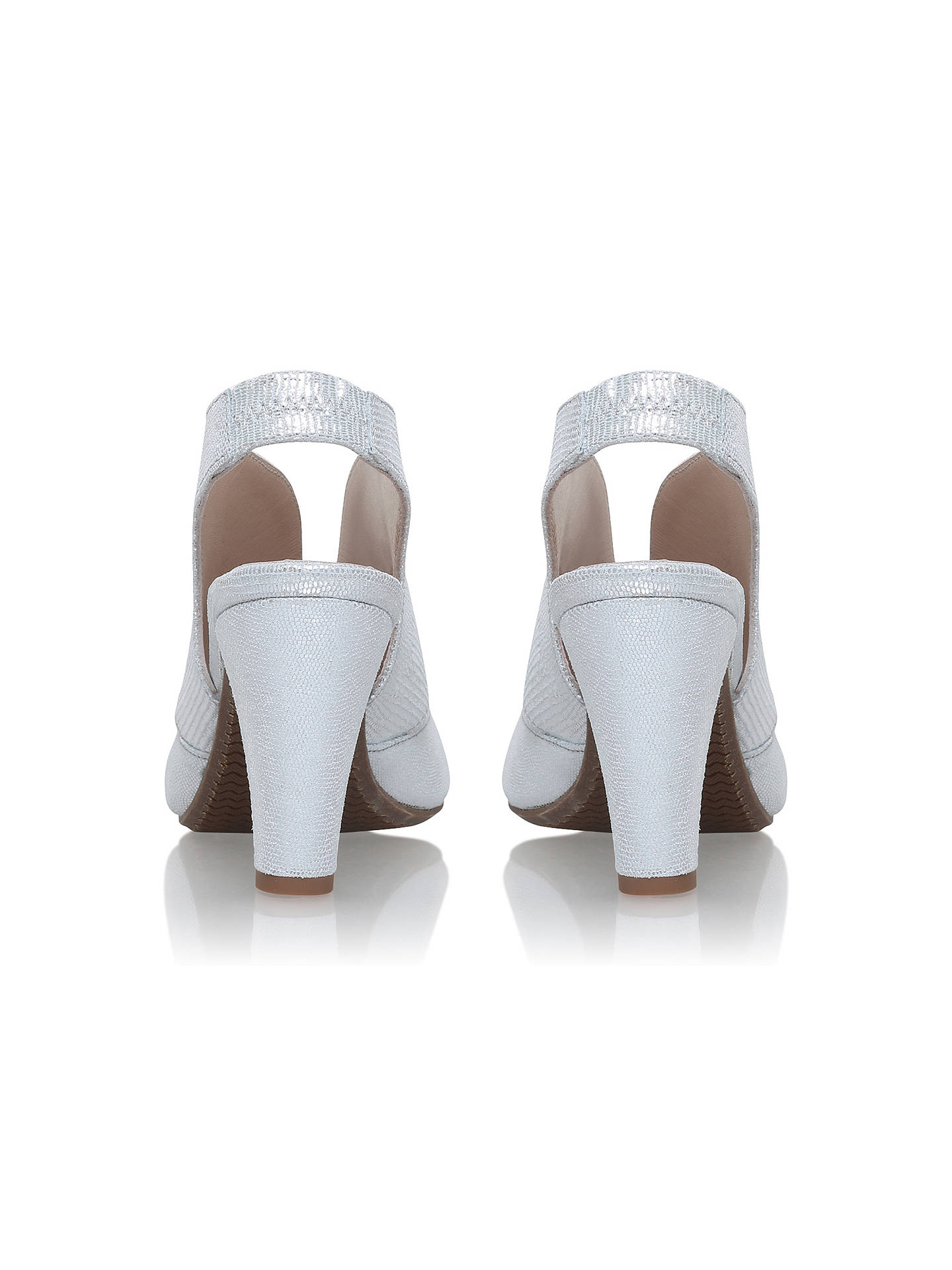 86b0dc1438a11 ... Buy Carvela Comfort Arabella Cone Heel Open Toe Court Shoes, Silver  Leather, 3 Online ...