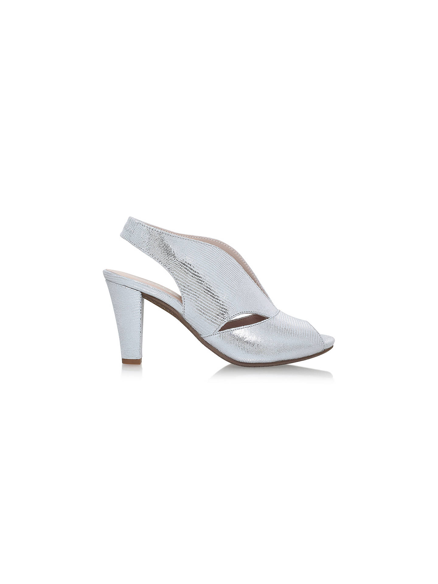58a34e1f90389 ... Buy Carvela Comfort Arabella Cone Heel Open Toe Court Shoes, Silver  Leather, 3 Online