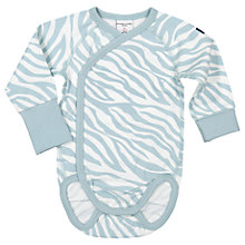 Buy Polarn O. Pyret Baby Zebra Stripe Bodysuit, Blue Online at johnlewis.com