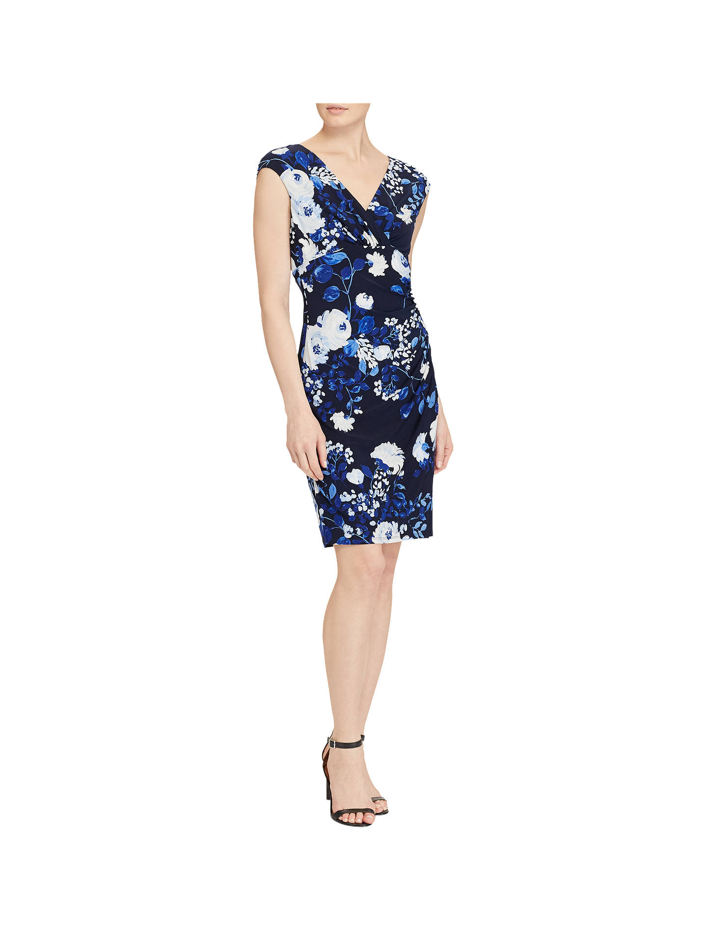 3af767c3 Buy Lauren Ralph Lauren Floral Print Jersey Dress, Lighthouse Navy/Colonial  Cream, 6 ...