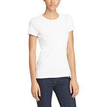 Buy Lauren Ralph Lauren Stretch Cotton Knit T-Shirt, White Online at johnlewis.com