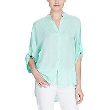 Buy Lauren Ralph Lauren Rolled Cuff Button-Down Shirt, Light Aqua Online at johnlewis.com