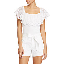 Buy Lauren Ralph Lauren Off The Shoulder Lace Top, White Online at johnlewis.com