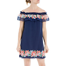 Buy Max Studio Floral Print Off Shoulder Dress, Patriot Blue/Coral Flower Vase Online at johnlewis.com