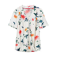 Buy Joules Hallie Printed Woven Top, Cream Bird Clematis Online at johnlewis.com