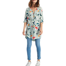 Buy Joules Carys Printed Tunic Top, Khaki Bird Floral Online at johnlewis.com