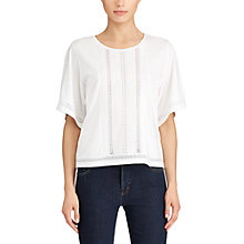 Buy Lauren Ralph Lauren Lace Insert Jersey Blouse, White Online at johnlewis.com