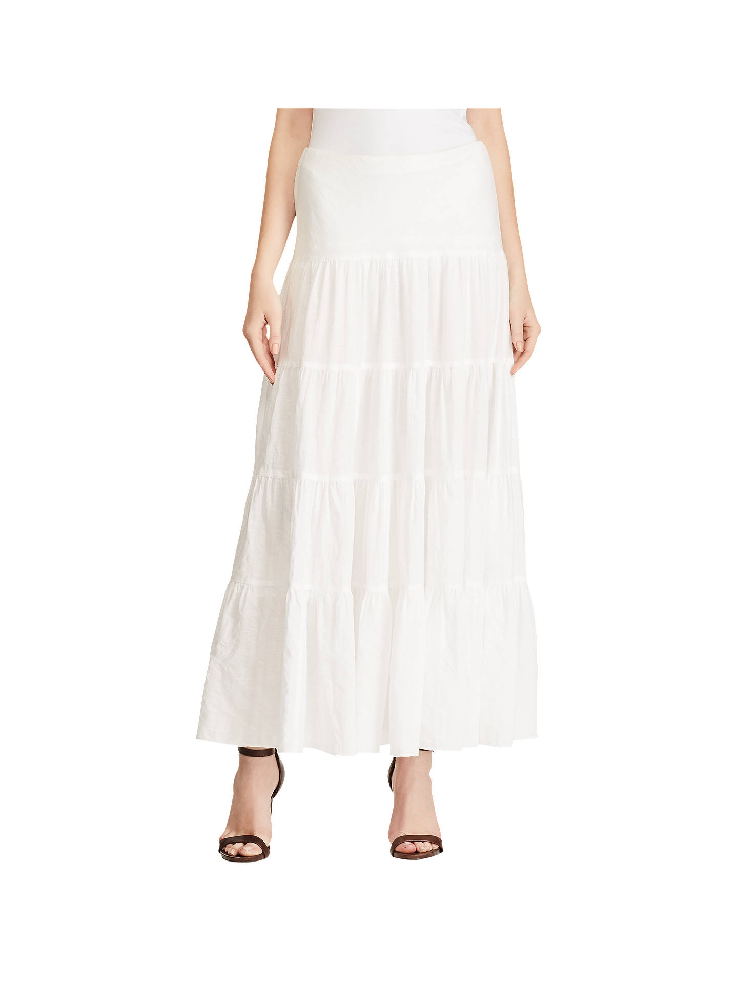 6499ff8480 Buy Lauren Ralph Lauren Cotton Gauze Maxi Skirt, White, XS Online at  johnlewis.