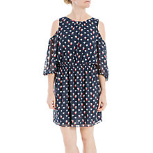 Buy Max Studio Floral Print Cold Shoulder Dress, Navy/Coral Falling Floral Online at johnlewis.com