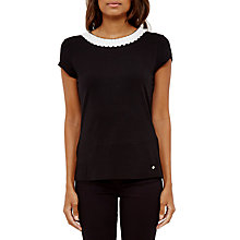 Buy Ted Baker Sillia Frill Neck Fitted T-Shirt, Black Online at johnlewis.com