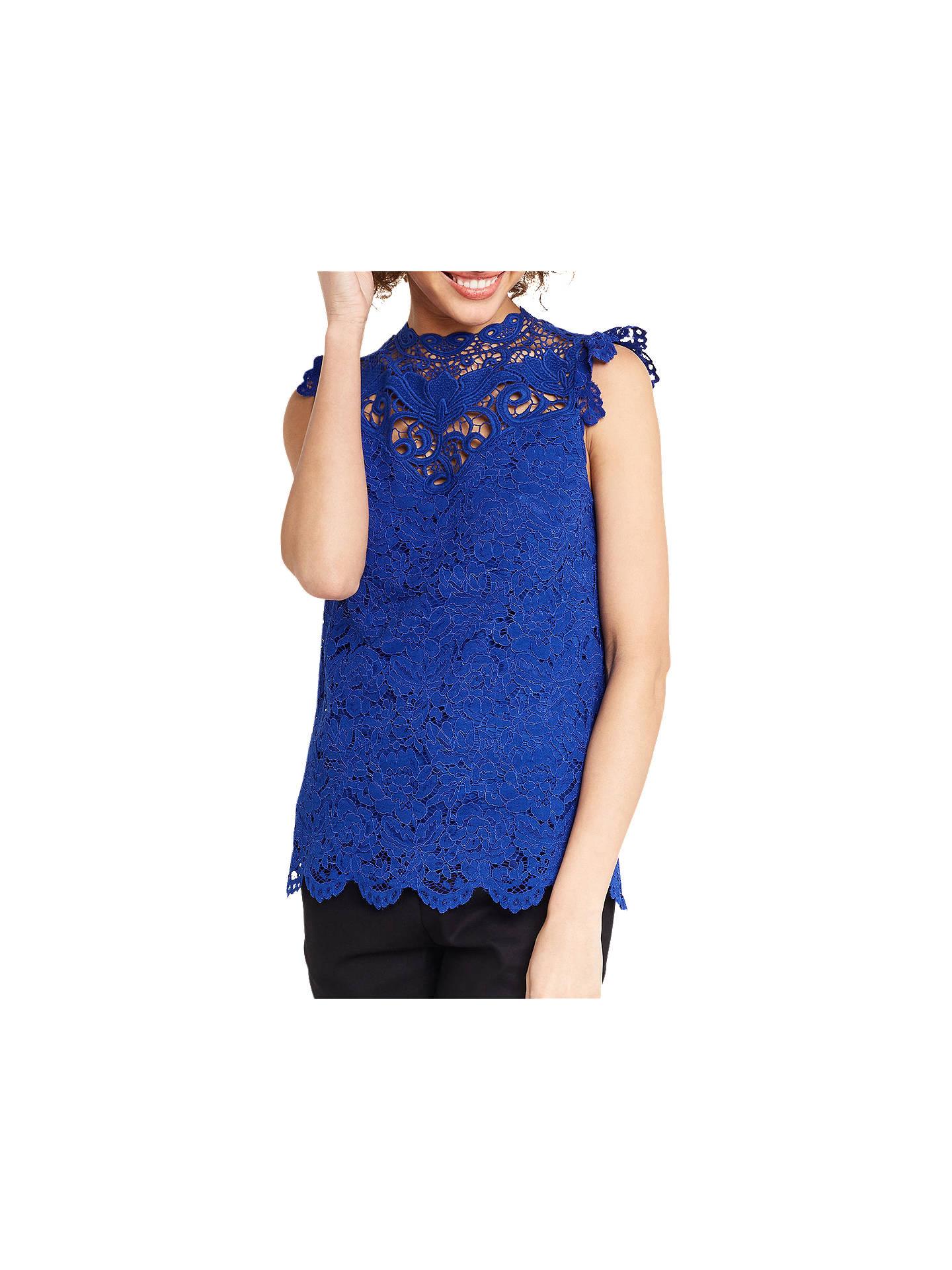 e4d59c3273b2 Buy Oasis Lace Trim High Neck Top, Blue, 8 Online at johnlewis.com ...