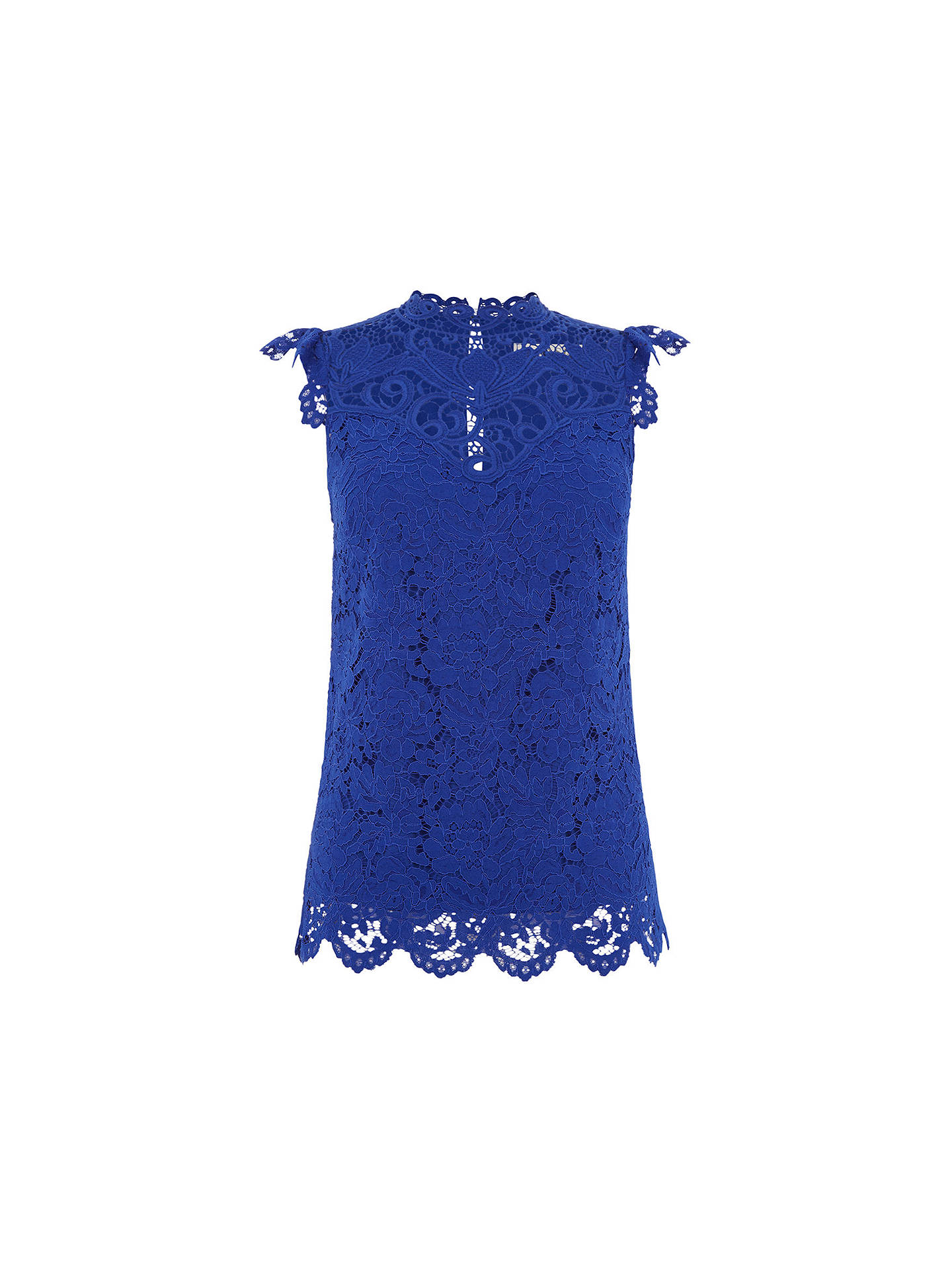 4e31017b286e ... Buy Oasis Lace Trim High Neck Top, Blue, 8 Online at johnlewis.com