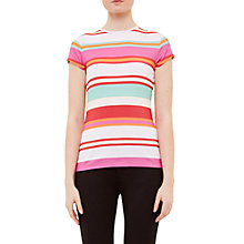 Buy Ted Baker Cheral Pier Stripe Fitted T-Shirt, Baby Pink Online at johnlewis.com