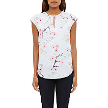 Buy Ted Baker Neebye Oriental Blossom Print Keyhole Top, Light Grey Online at johnlewis.com