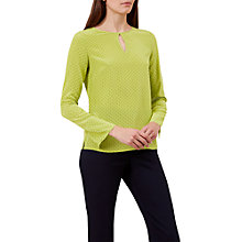 Buy Hobbs Rowena Silk Blouse, Kiwi Green Online at johnlewis.com