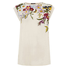 Buy Oasis Spring Floral Print Placement T-Shirt, Natural/Multi Online at johnlewis.com