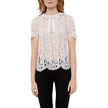 Buy Ted Baker Scallop Edge Lace Top, Baby Pink Online at johnlewis.com
