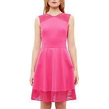 Buy Ted Baker Eleese Mesh Detail Skater Dress, Fuchsia Online at johnlewis.com