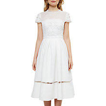 Buy Ted Baker Tie The Knot Frizay Lace Bodice Midi Dress, Ivory Online at johnlewis.com