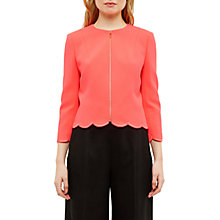 Buy Ted Baker Heraly Scallop Detail Cropped Jacket, Mid Orange Online at johnlewis.com
