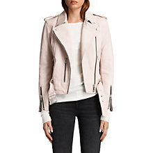 Buy AllSaints Leather Balfern Biker Jacket, Washed Pink Online at johnlewis.com
