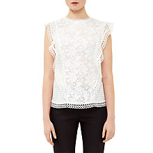 Buy Ted Baker Zania Ruffle Mixed Lace Top, White Online at johnlewis.com