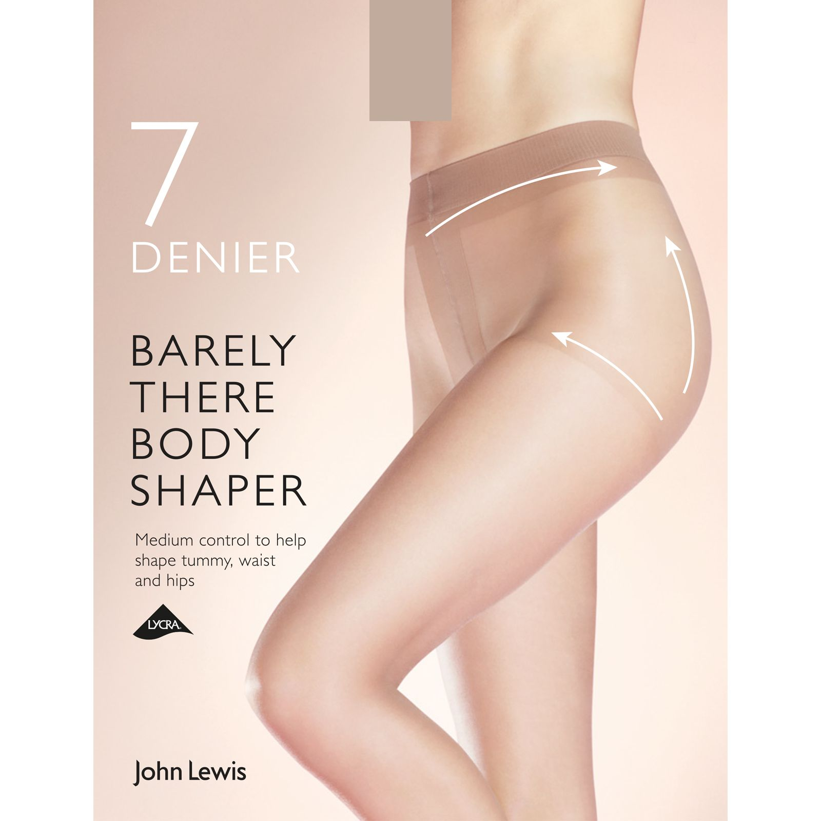 John Lewis 15 Denier Sleek Body Shaper Tights Small Nude NEW