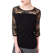 Buy Precis Petite Lace Fluted Sleeve Top, Black Online at johnlewis.com