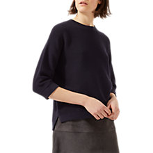 Buy Jigsaw Ottoman Slouchy Jumper, Dark Navy Online at johnlewis.com