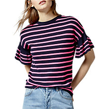 Buy Warehouse Stripe Frill Sleeve Top, Pink/Navy Online at johnlewis.com