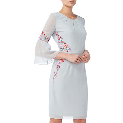 Buy Raishma Pleated Sleeve Floral Dress, Ice Blue Online at johnlewis.com