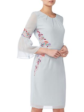 Raishma Pleated Sleeve Floral Dress, Ice Blue