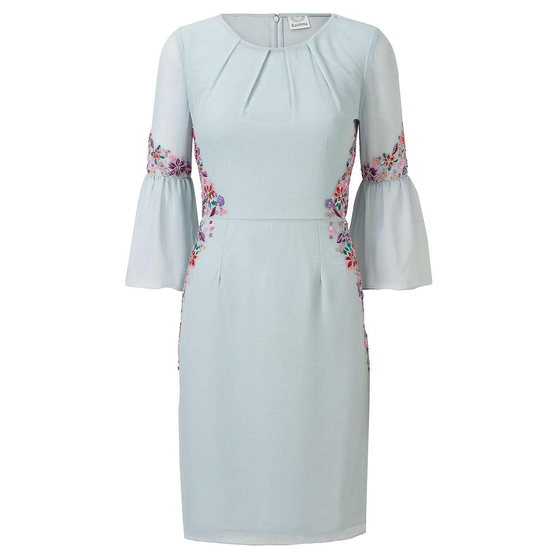 Raishma Pleated Sleeve Floral Dress, Ice Blue at John Lewis