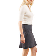 Buy Jigsaw Suede Fluted Skirt, Blue Smoke Online at johnlewis.com
