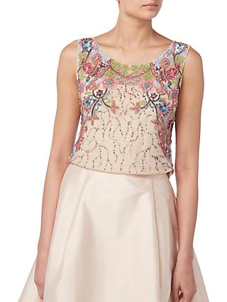 Raishma Floral Embroidered Top, Nude