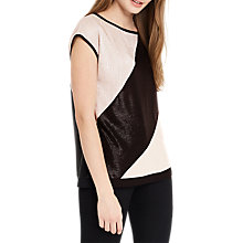 Buy Oasis Diagonal Crinkle Top, Black/Multi Online at johnlewis.com