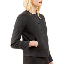 Buy Jigsaw Soft Suede Collarless Jacket, Navy Online at johnlewis.com