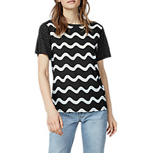 Buy Warehouse Woven Squiggle Front Top, Black Online at johnlewis.com