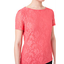 Buy Precis Petite Floral Lace Jersey Top, Coral Online at johnlewis.com