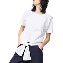 Buy Warehouse Stripe Tie Front Cotton Top, White Online at johnlewis.com
