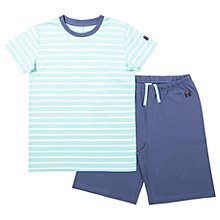 Buy Polarn O. Pyret Children's Striped Top and Shorts Pyjama Set, Blue Online at johnlewis.com