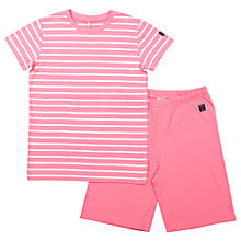 Buy Polarn O. Pyret Children's Striped Top and Shorts Pyjama Set, Pink Online at johnlewis.com