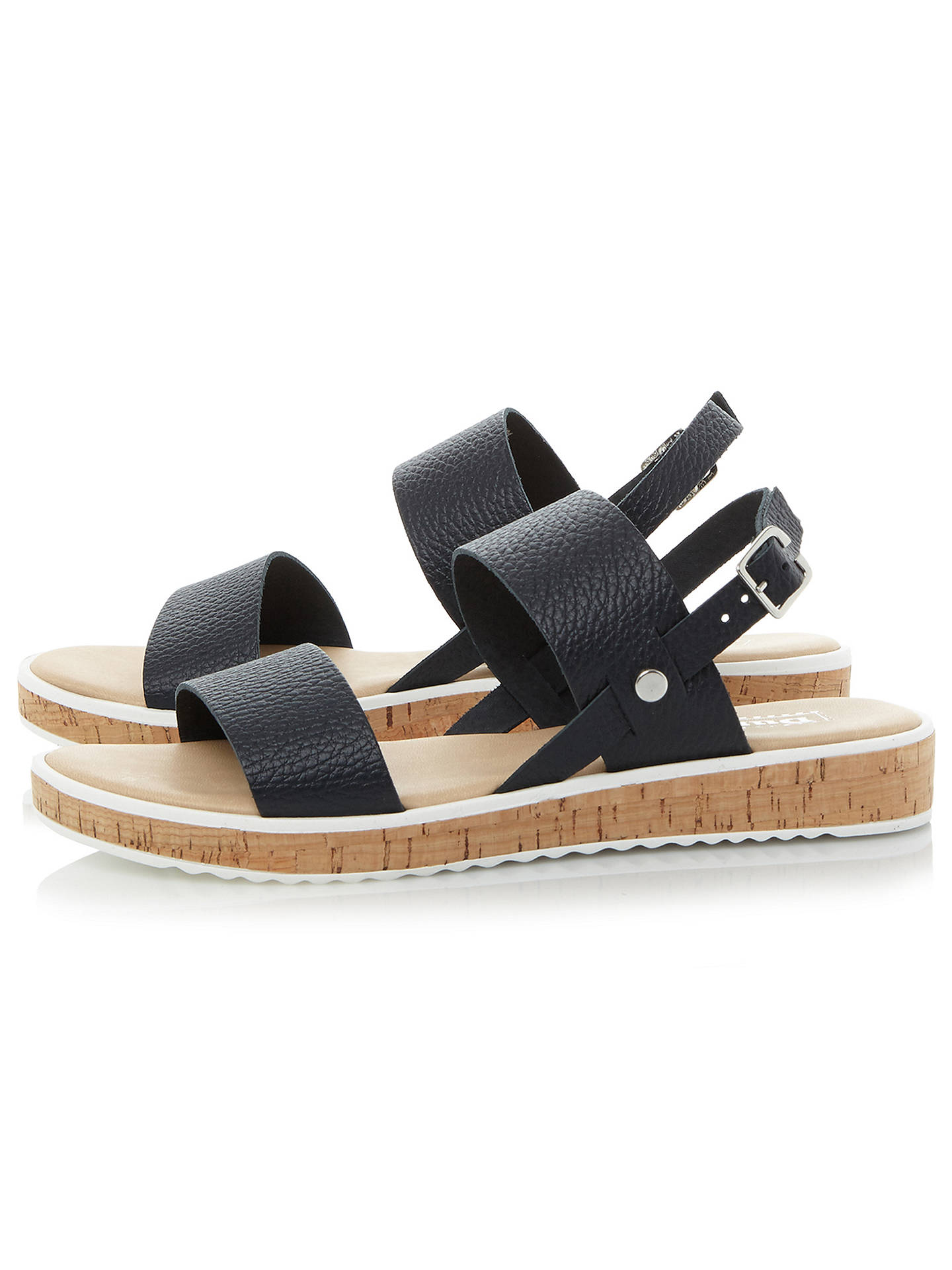 BuyDune Logo Double Strap Sandals, Navy, 3 Online at johnlewis.com