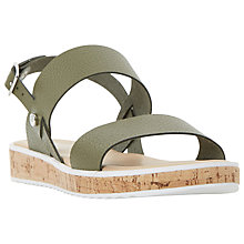 Buy Dune Logo Double Strap Sandals, Khaki Online at johnlewis.com