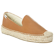 Buy Soludos Leather Flatform Smoking Espadrilles, Tan Online at johnlewis.com