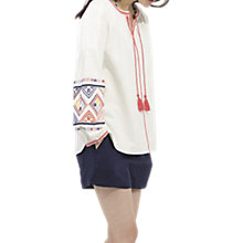 Buy Joules Yolanda Embroidered Long Sleeve Top, White Online at johnlewis.com