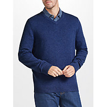 Buy John Lewis Merino Cashmere V-Neck Jumper, Denim Online at johnlewis.com