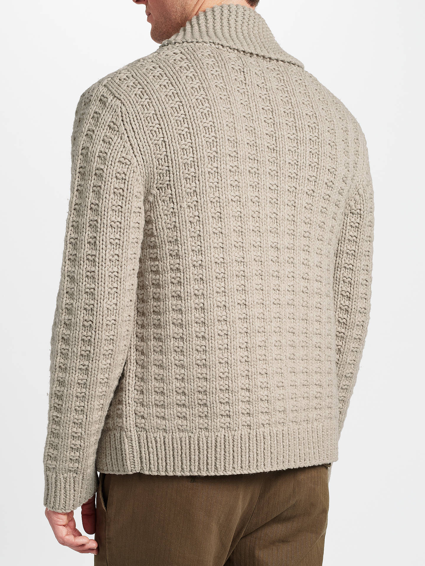 JOHN LEWIS & Co. Hand Knit Cardigan, Grey at John Lewis