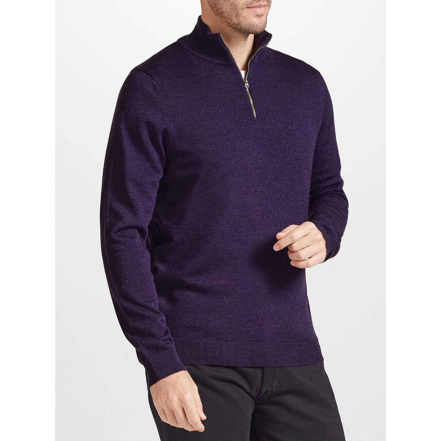 BuyJohn Lewis Merino Zip Neck Jumper, Purple, S Online at johnlewis.com