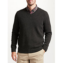 Buy John Lewis Merino Cashmere V-Neck Jumper, Grey Online at johnlewis.com